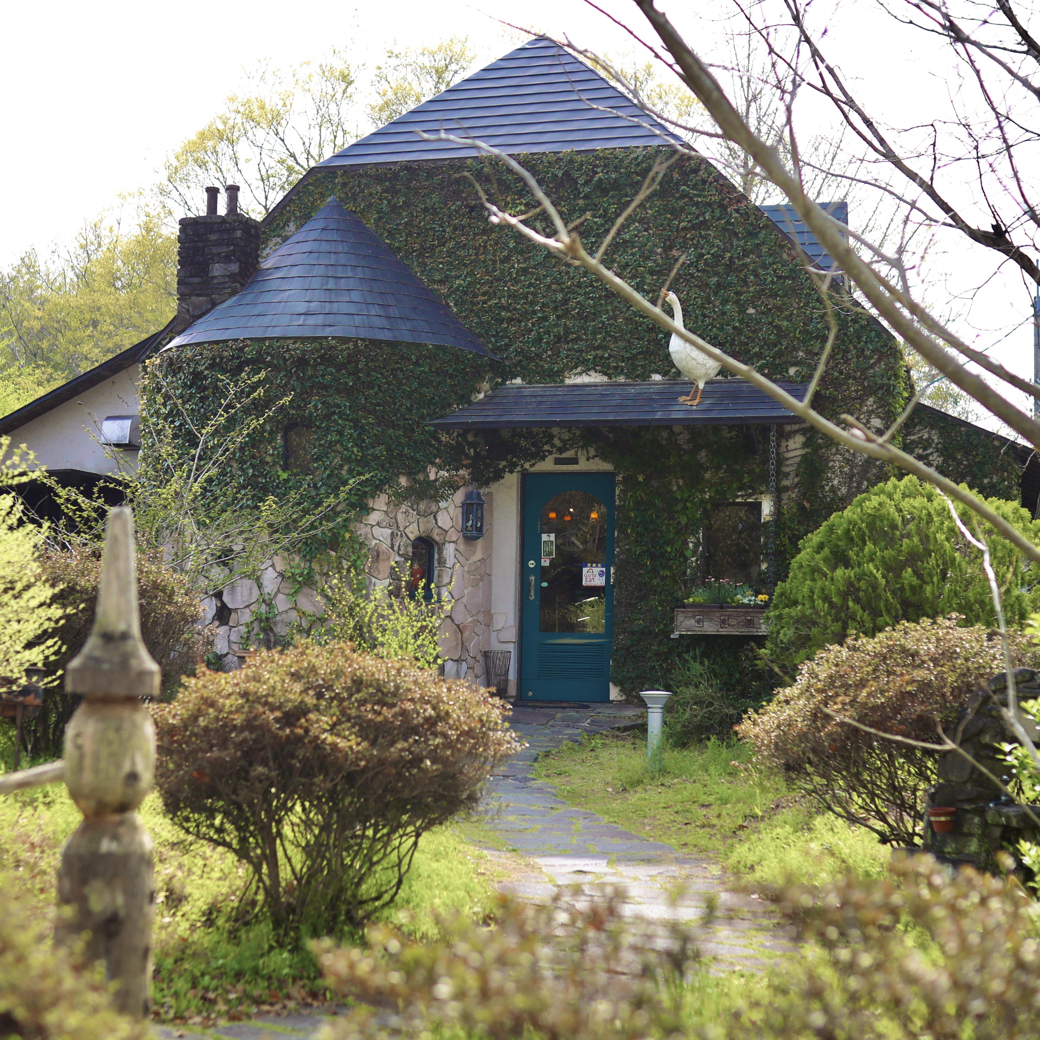 屋根の上のガチョウ(日高村) メルヘンなおとぎ話の世界でお茶会